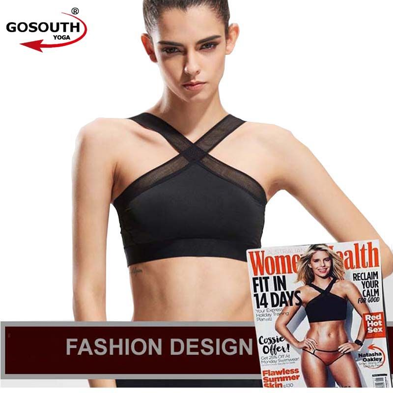 New Women Sexy Sports Bras Quick Dry Gym Criss Cross Mesh Patchwork  Top Training Running  Fitness Yoga Bra Black white   G-085