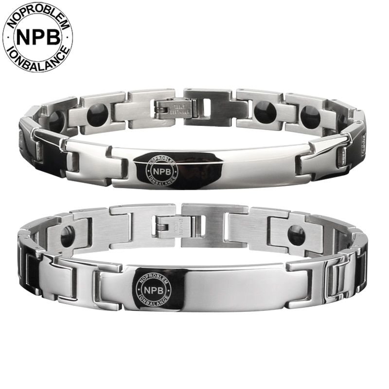 Noproblem ion balance therapy health choker cute casual metal tourmaline germanium male and female couple siliver Bracelet