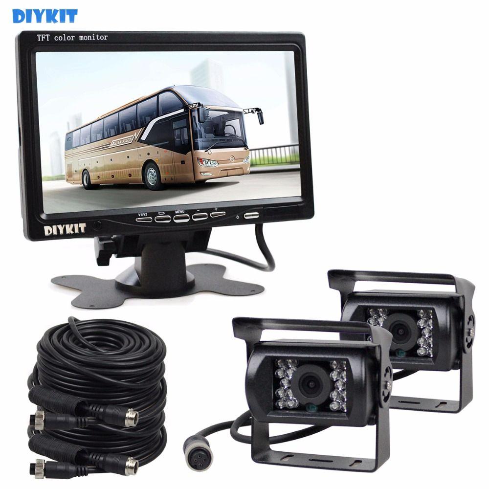 DIYKIT 2 x 4pin Nachtsicht CCD Rückfahrkamera Kit + DC 12 V-24 V 7 zoll TFT LCD Monitor System Für Bus Hausboot Lkw