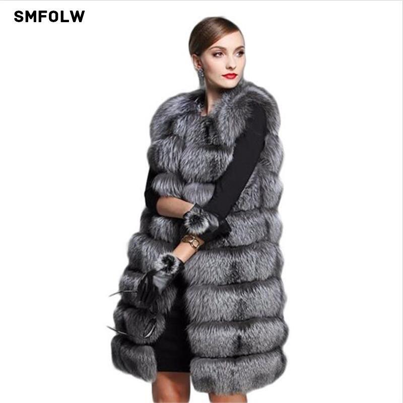 Европейский Стиль Мода 2017 г. Новые пальто с искусственным мехом Для женщин's Меховой жилет Silver Fox волос пальто с мехом Для женщин Размер 6xl