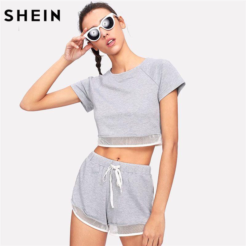 SHEIN Mesh Trim Heather Knit Tee & Shorts Set Women Grey Round Neck Raglan Sleeve Sporting Tracksuit 2018 Casual 2 Pieces