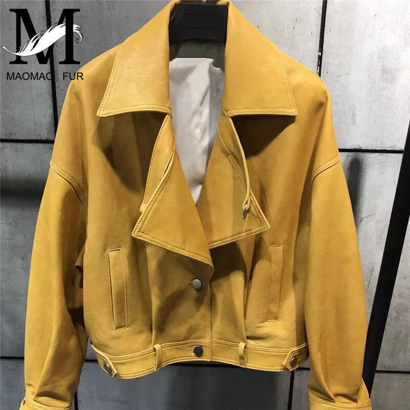 Damen Echtes Leder Jacke Frauen Herbst Mode Marke Stil Weibliche Oberbekleidung Motorrad Jacke Real Schaffell Leder Mantel
