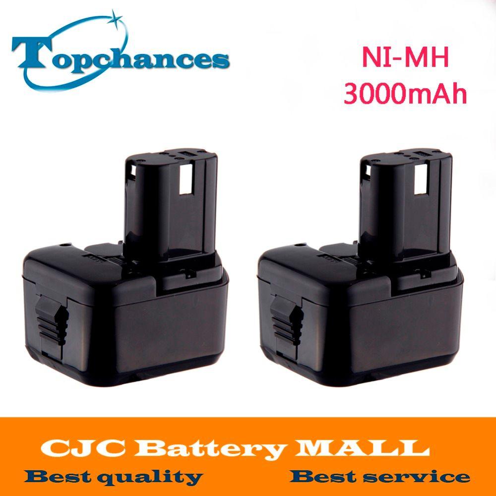 2 pièces 12 V 3000 mAh pour Hitachi EB1214S EB1220BL EB1220HL EB1220HS DH15DV DN12DY DN12DYK DN12Y DW18D