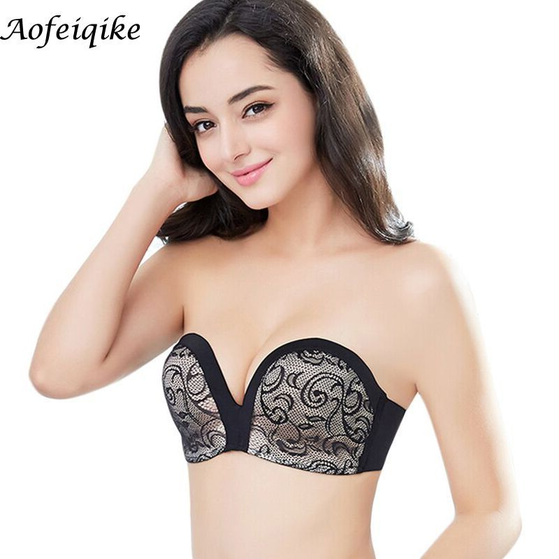 Women's Slightly Lined Lift Great Support Lace Strapless backless invisible dress Bra drop shipping