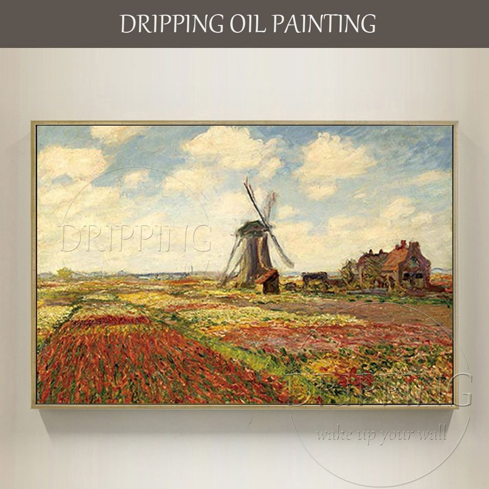 Free Shipping High Quality Windmill Landscape Oil Painting Repaint Impressionist Landscape Monet Windmill Landscape Oil Painting