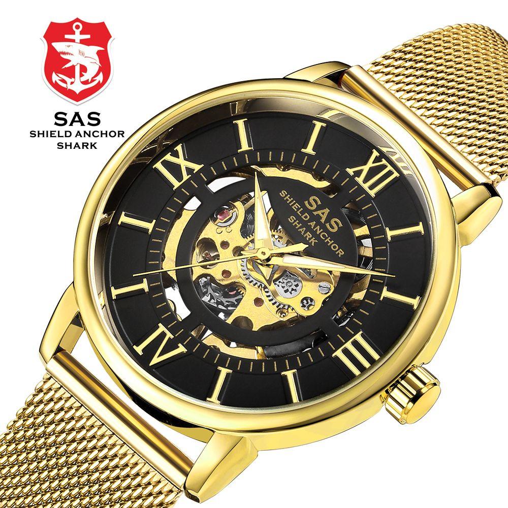 Mechanical Wristwatches Men Luxury Brand Stainless Steel Milanese Watch Hand-winding Watches Fashion Skeleton Relojes SHARK-#810