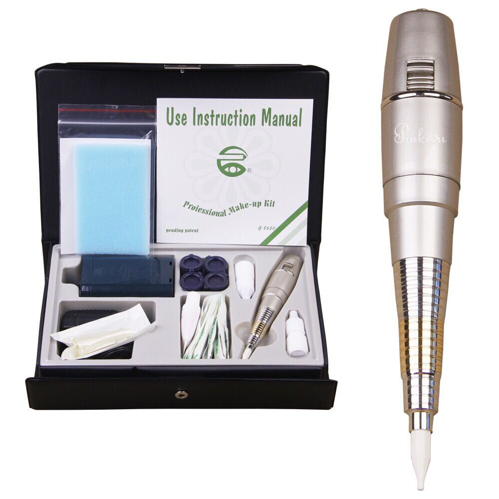 Pro Permanent MakeUp Tattoo Machine Pen For Eyebrows Forever Make Up GS Microblading Tattoo Kit With Needles Ink Power Supply