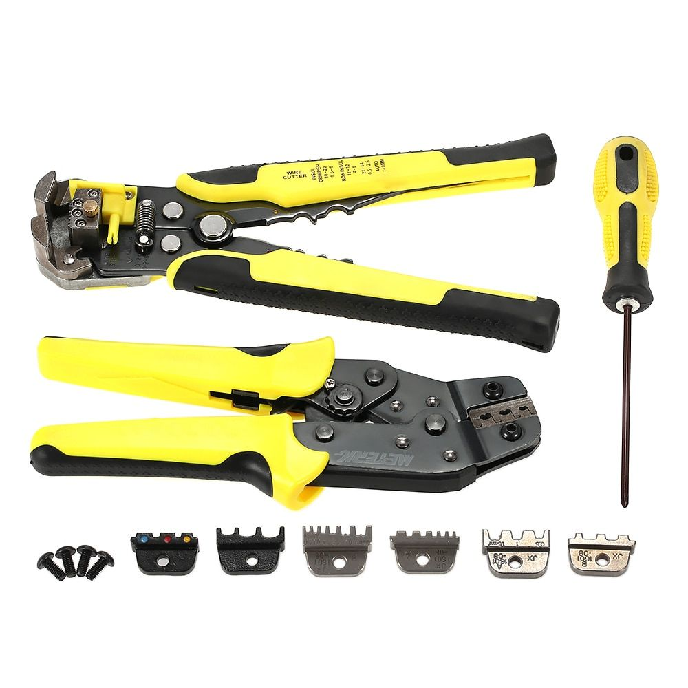 4 In 1 Multitool Wire Crimper Tools Kit Engineering Ratchet Terminal Crimping Plier Wire Crimper + Wire Stripper+S2 Screwdiver
