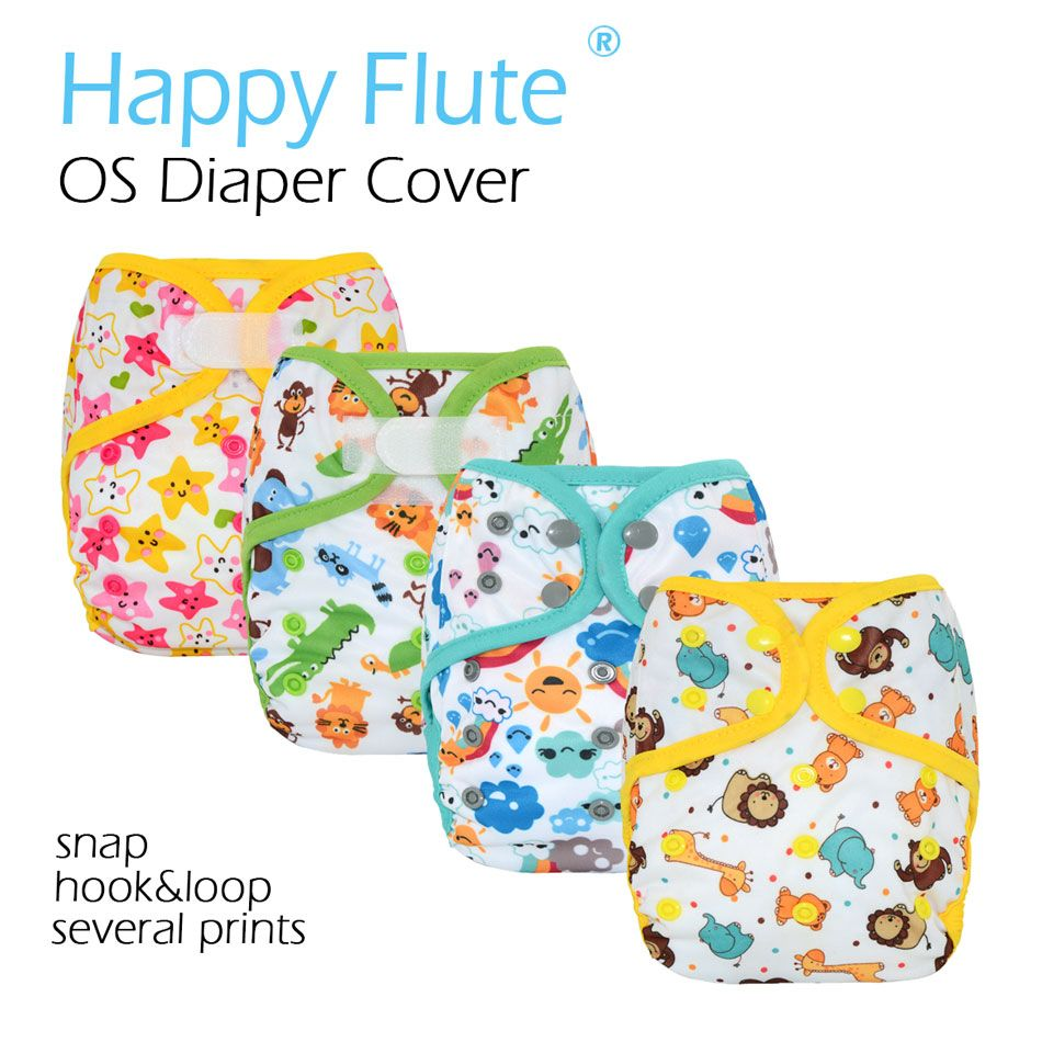 Happy Flute OS cloth diaper cover with or without bamboo cotton insert,waterproof breathable S M& L adjustable