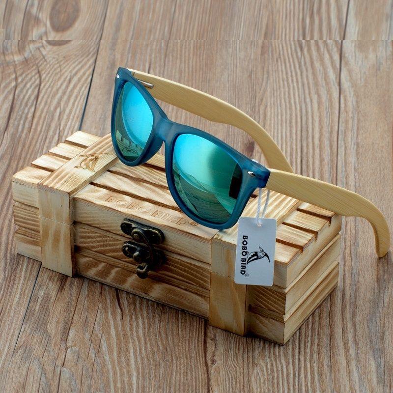 Бобо птица прозрачный синий Квадратные Солнцезащитные очки Для женщин бамбукового дерева солнцезащитные очки зеркальные поляризационные ...
