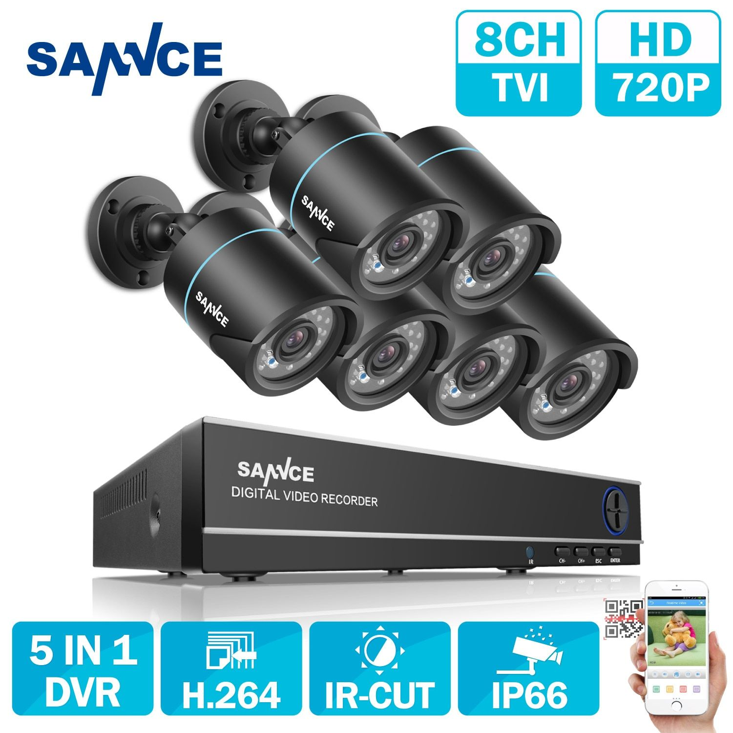 SANNCE 8CH  Output Onvif Supported DVR Waterproof 720P 1.0MP Night Vision Camera CCTV System Surveillance Kits With 6 Cameras