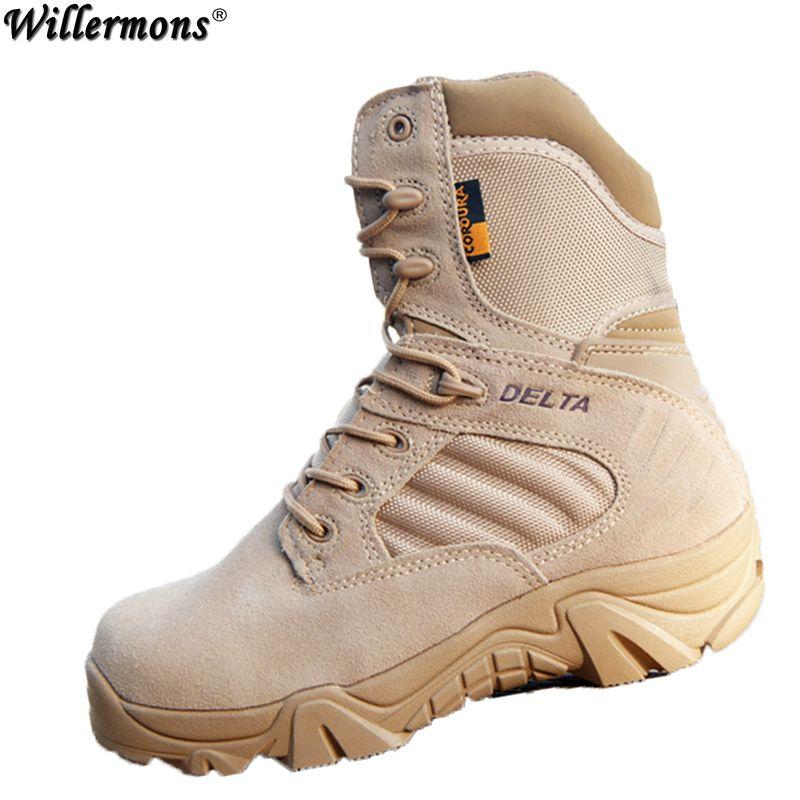 Зима/Осень Для мужчин качество бренда Военная Униформа кожаные сапоги спецназа тактические Desert Combat лодки открытый Обувь Снегоступы