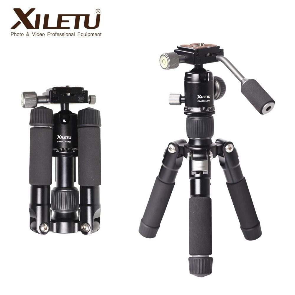 XILETU FM5C-MINI Aluminum Stable Tabletop Desktop Tripod&Ball Head For Digital camera Mirrorless camera Smart phone