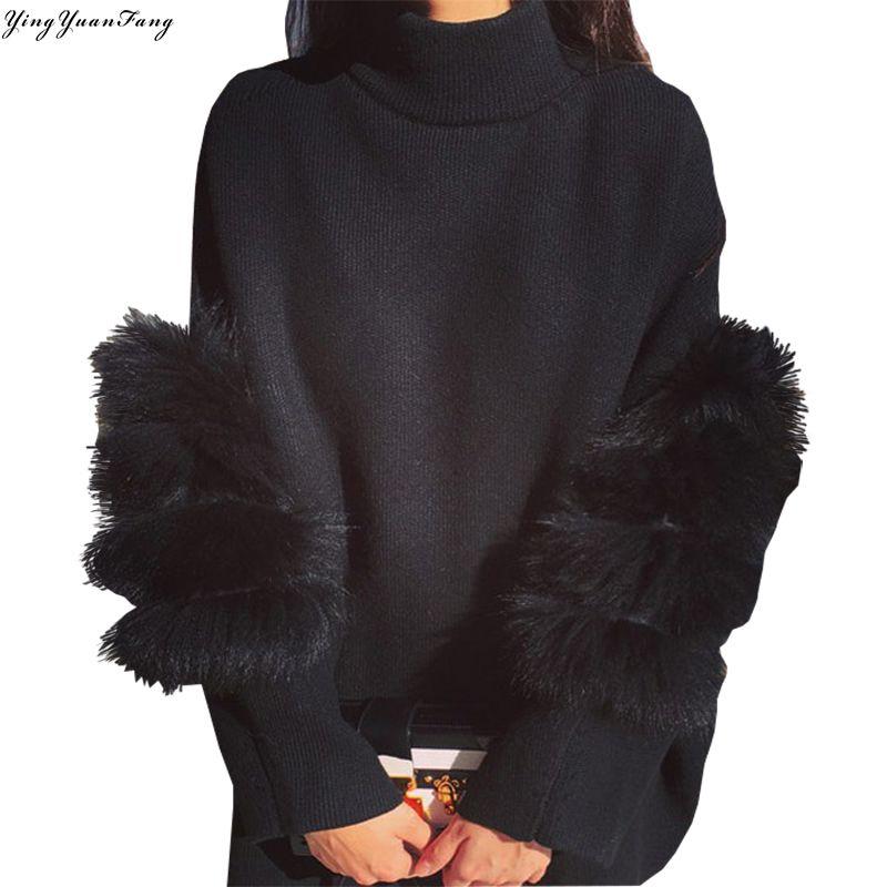 YingYuanFang New Korean fashion loose stitching thick warm fur sleeve knit pinning two women