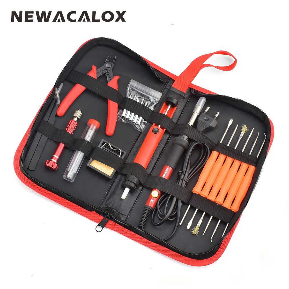NEWACALOX EU 220V 60W Thermoregulator Electric Soldering Iron Kit Screwdriver Desoldering Pump Tip Wire Pliers Welding Tools Bag