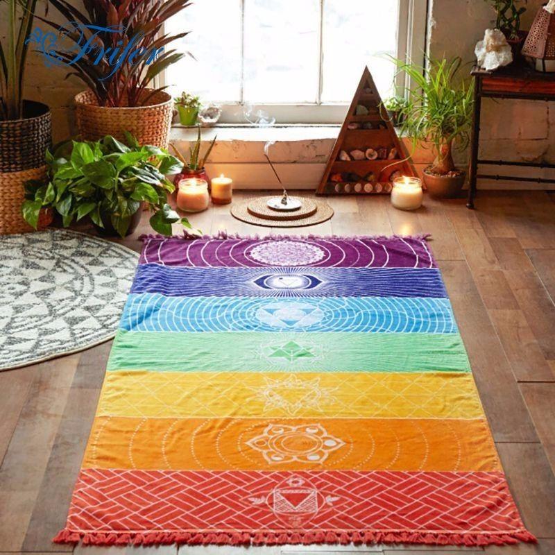 S/M Arc-En-Tapis Mur Suspendus Tapis Mandala Couverture Tapisserie Rainbow Stripes Voyage Tapetes Pour La Maison Décoration De Sol Tapis