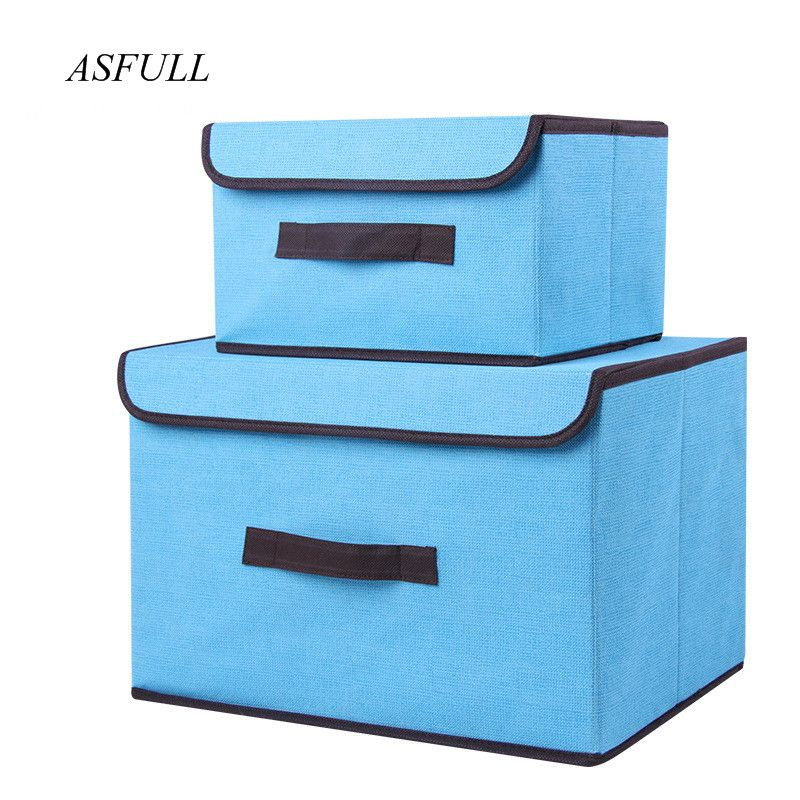 Cotton And Liene Storage Box With Cap 2 Size Clothes Socks Toy Snacks Sundries Oraganier Set organizer Cosmetics Household