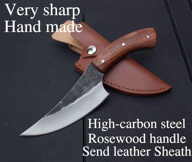 XITUO EDC Utility hunting knife Very sharp High-carbon steel Handmade knife 24cm 58HRC Rosewood survival tactical rescue tools
