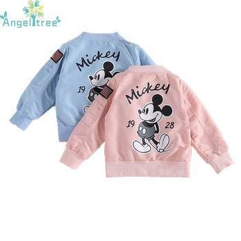 Angeltree 2018 Mickey Veste Bébé Vêtements Filles Garçons Manteau de Bande Dessinée Imprimé Coupe-Vent Enfants Vestes Printemps Enfants Survêtement