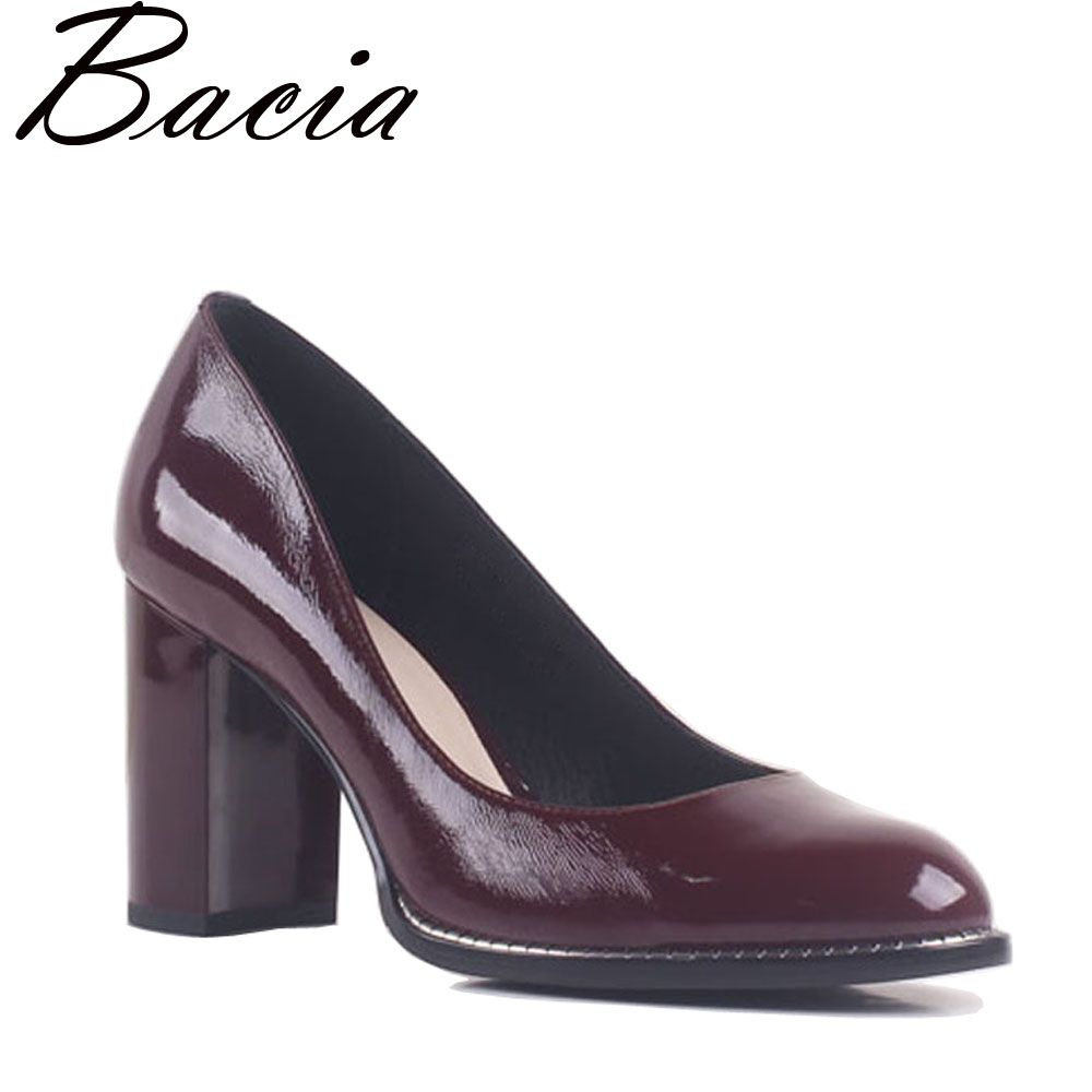 Bacia Natural Leather Wine Red Pumps Round Toe Thick Heel 8.4cm Square Heels Genuine Leather Elegant Office Shoes SB015