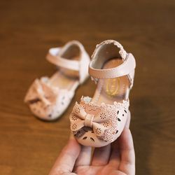 2019 Musim Panas Cute Renda Kupu Kupu-kupu Bayi Perempuan Sepatu Baotou Balita Gadis Sandal 0-1-2 Tahun tua Anak Putri Sepatu
