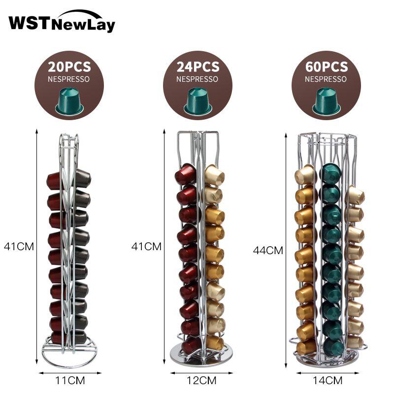 Storage 12/40/60 Nespresso Capsules Coffee Pod Holder Stand Kitchen Table Metal Shelf Dispaly Metal Rack HR1004