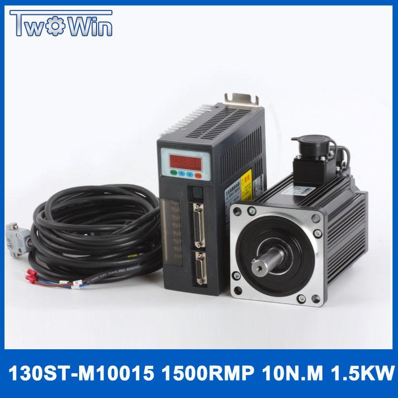 1.5kw 6.0A Nm 1500 rpm ac servo motor 130ST-M10015 und servoantrieb system mit kabel