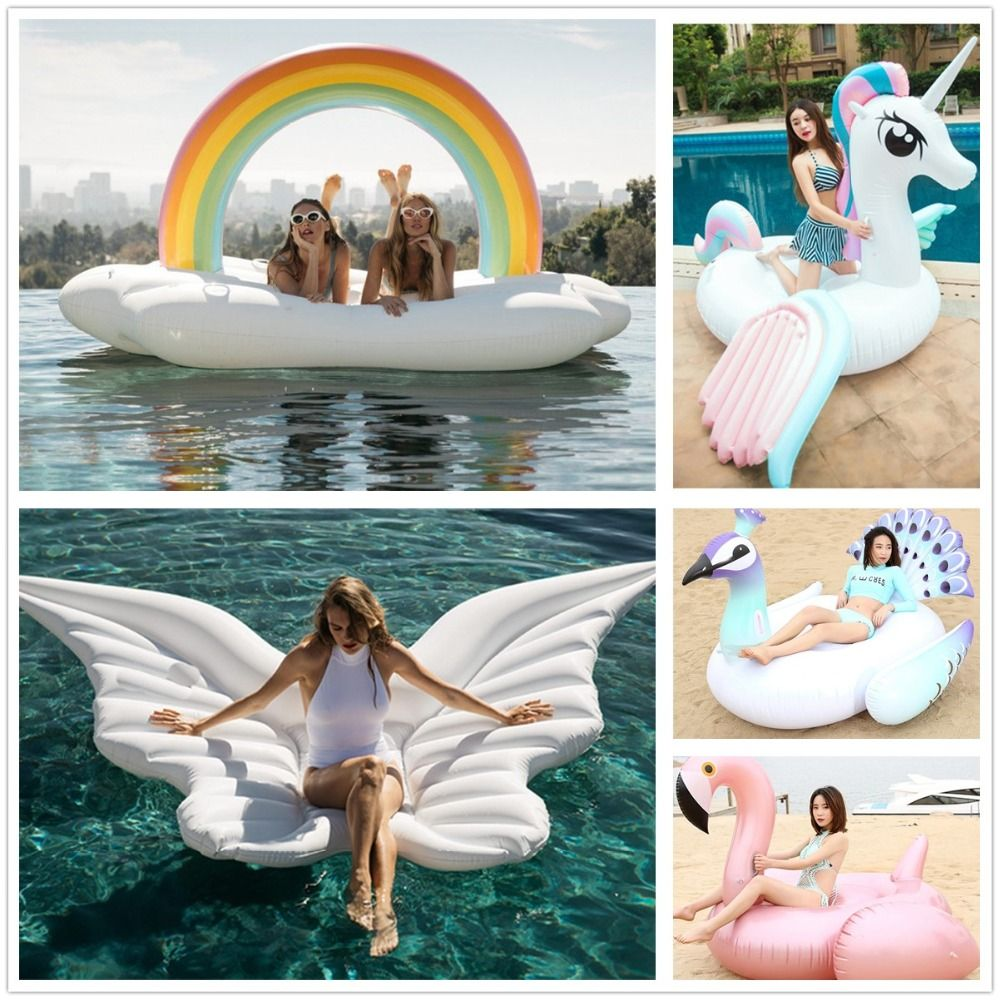 DHL/UPS 275cm Giant Inflatable water Float unicorn Ride-On Swimming Ring Water Holiday Party Toys Piscina flamingo swimming laps