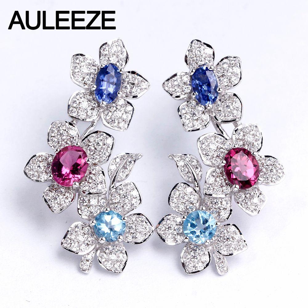 Reale Natürliche Sapphire Turmalin Topas Tropfen Ohrringe 14K 585 Weiß Gold Blume Ohrringe Oval Cut Multi Edelstein Ohrringe Schmuck