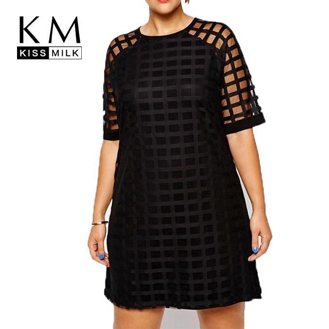 Kissmilk Femmes Plus Taille Damier O Cou Sheer Mesh Chemise robe Robe Chasuble OL Vintage Partie Grande Taille Robe 5XL 6XL