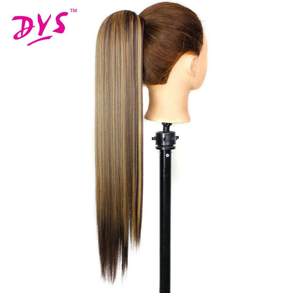 Deyngs Griffe En Queue De Cheval Extensions De Cheveux Pour Les Femmes 60 cm 140g Longue Ligne Droite Faux Postiches Résistant À La Chaleur Synthétique Poney queue