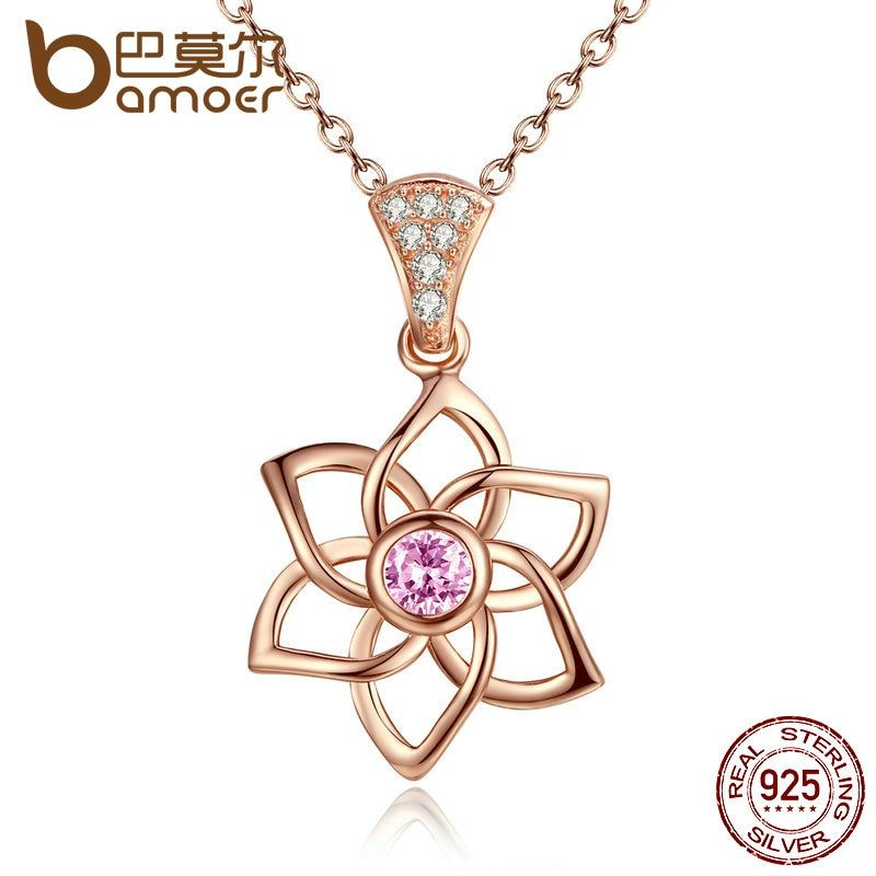 BAMOER High Quality 100% 925 Sterling Silver Carnations Pink Flower Necklaces & Pendants Wedding Fine Jewelry SCN038