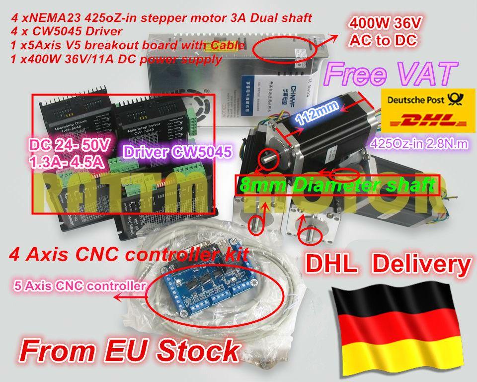 EU schiff frei MEHRWERTSTEUER CNC Controller 4 achsen CNC kit NEMA23 unzen-in 2.8nm doppelwelle schrittmotor & 256 microstep 4.5A fahrer
