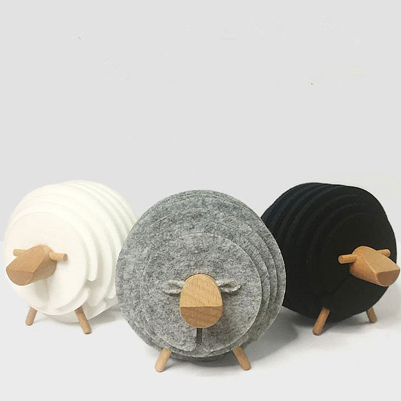 Sheep Shape Anti Slip Drink Coasters DIY Heat Insulated Felt Mugs Mats Table Placemats Housewarming Gifts Home Decor 14 PCS