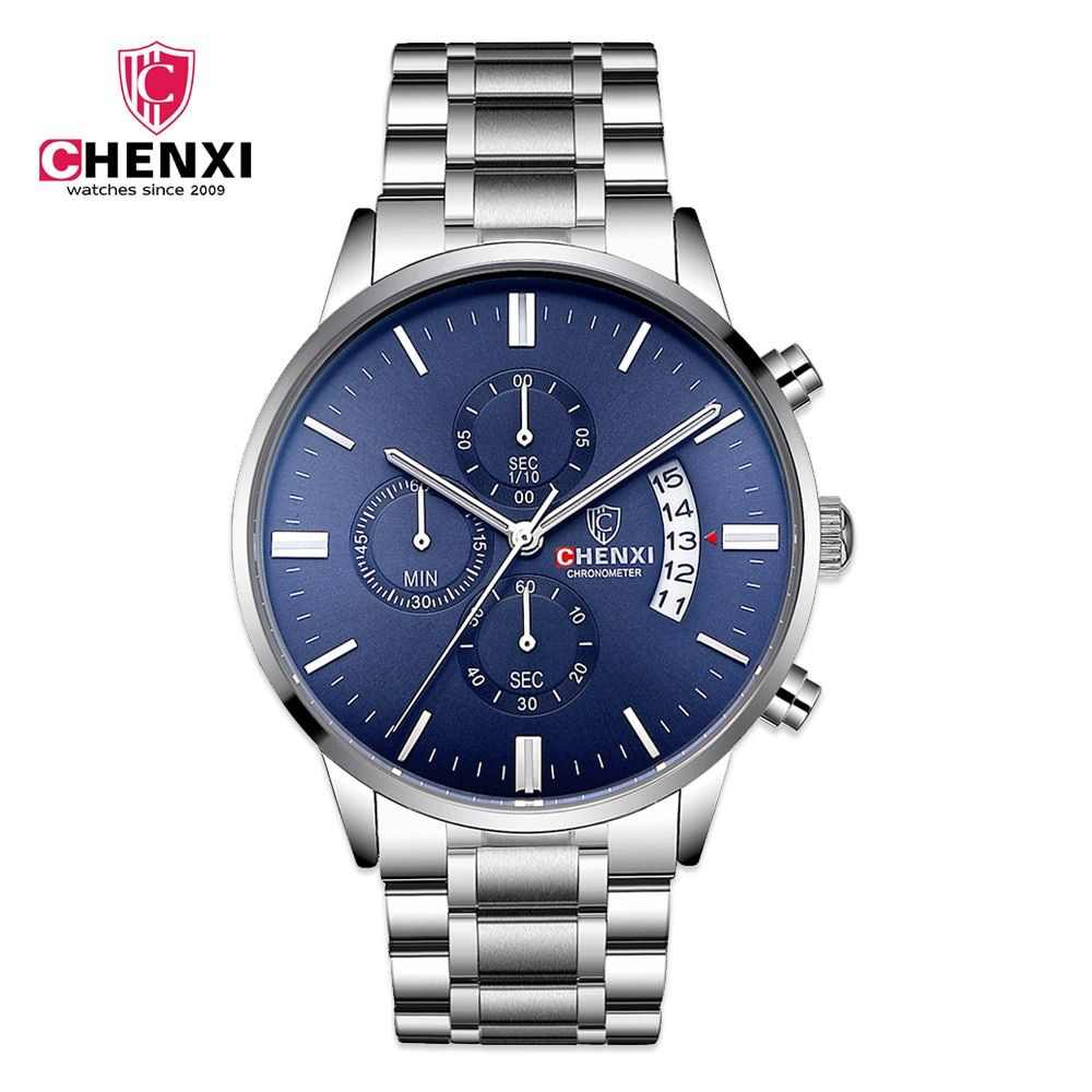 Silver Men's Casual Watches Luxury Brand CHENXI Stainless Steel Multi Function Sport Casual Business Quartz Male Clocks
