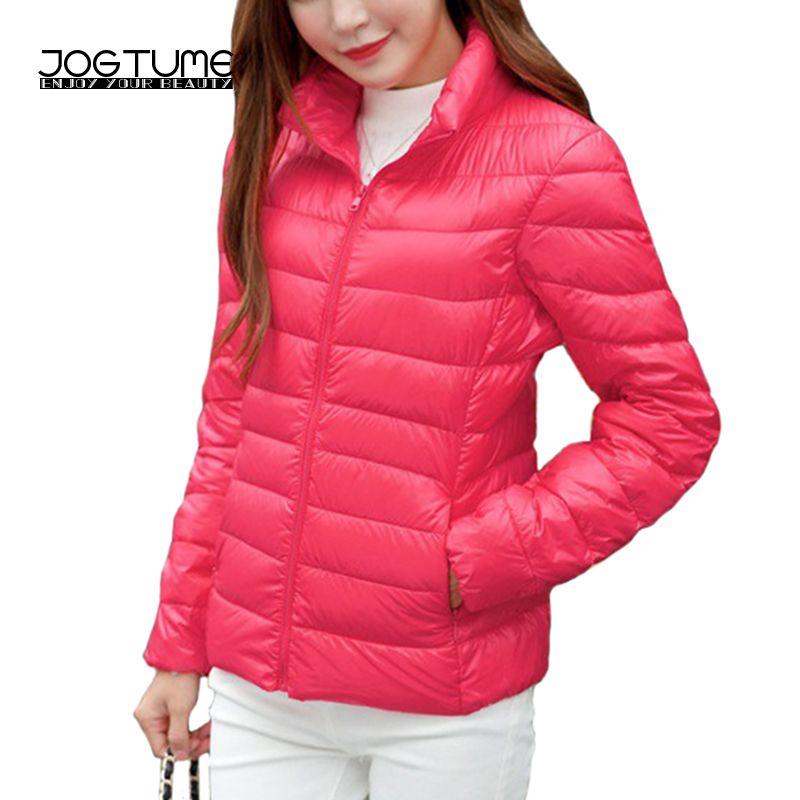 Jogtume плюс Размеры 4XL 5XL 6XL теплые куртки осень 2017 г. женские утка Подпушка модное пальто Длинные рукава дамы тонкий ультра-тонкая куртка