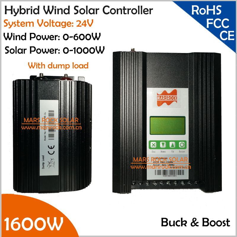 24V 0-600W Wind 0-1000W Solar 1600W Buck and Boost Hybrid MPPT Controller with Dump Load and Customized LCD Screen