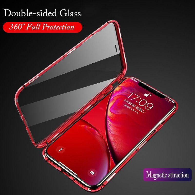 Verre avant arrière magnétique pour iPhone XR étui Flip de luxe en métal pare-chocs 360 couvercle en verre transparent pour iPhone Xs MAX 7 8Plus étui Flip