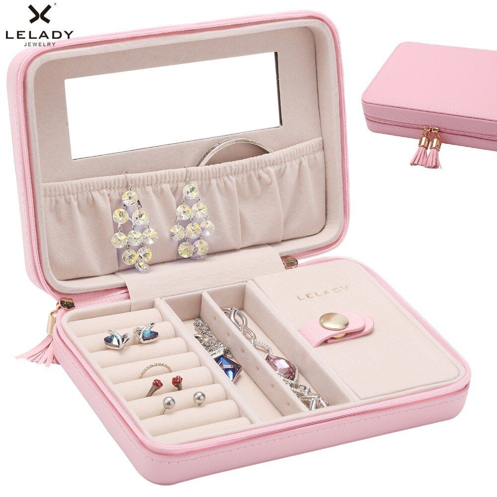 LELADY 18*5*13cm Portable Travel Small Jewelry Box Storage Organizer Box with mirror Inside Velvet Leather Jewelry Box for women