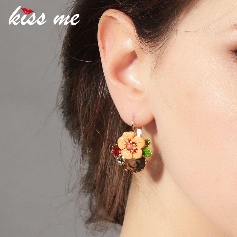 Ms mode costume majeur Joker émail fleurs couleur Focus Piercing boucles d'oreilles usine en gros boucles d'oreilles pour les femmes