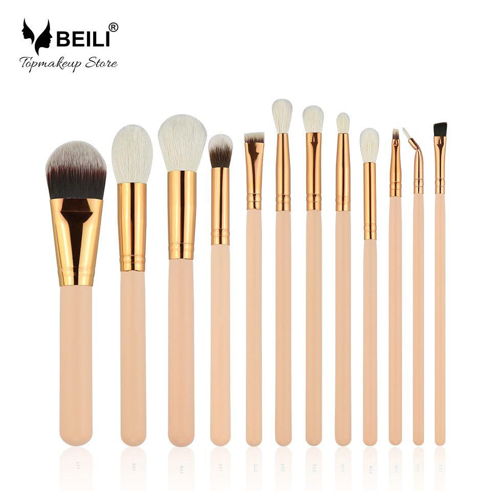 BEILI Ziegenhaar Make-Up Pinsel set Highlight foundation lidschatten Eye brow 12 stücke beige pinsel ohne logo großhandel