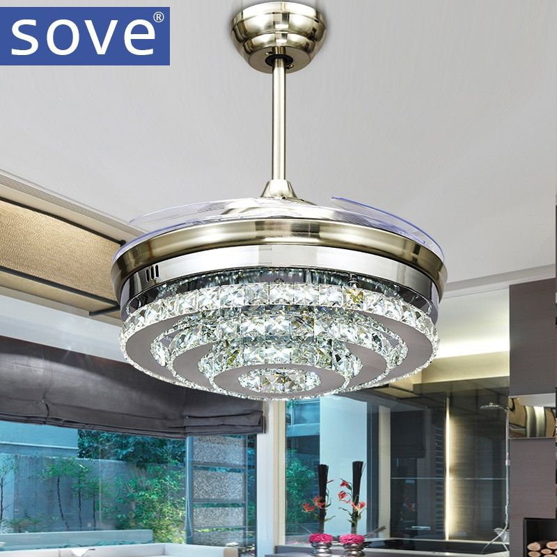 SOVE Modern LED Invisible Crystal Ceiling Fans With Lights Bedroom Folding Ceiling Light Fan Remote Control Ventilador de teto