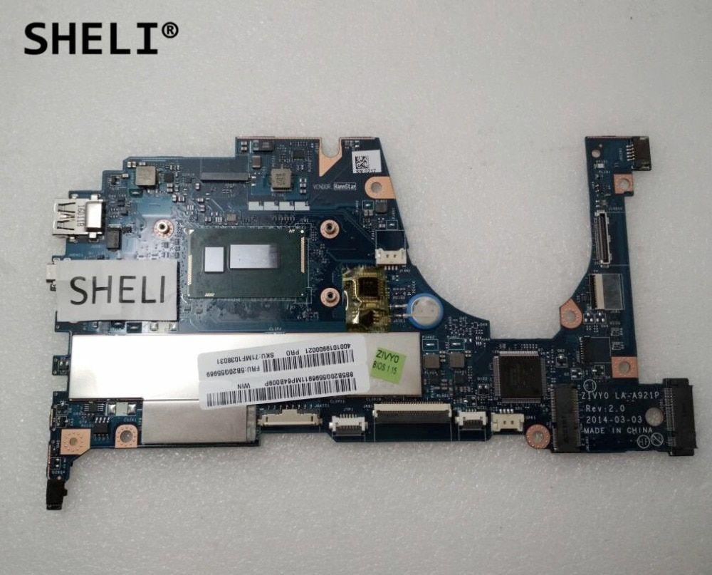 SHELI For Lenovo Yoga 2 13 Motherboard with I3-4030U cpu 4G memory LA-A921P 5B20G55969