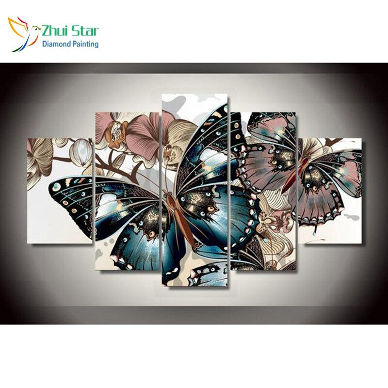 Zhui Star 5D DIY Full Square Diamond Painting butterfly Cross stitch Multi-picture <font><b>Combination</b></font> 3D Mosaic fashion Decor