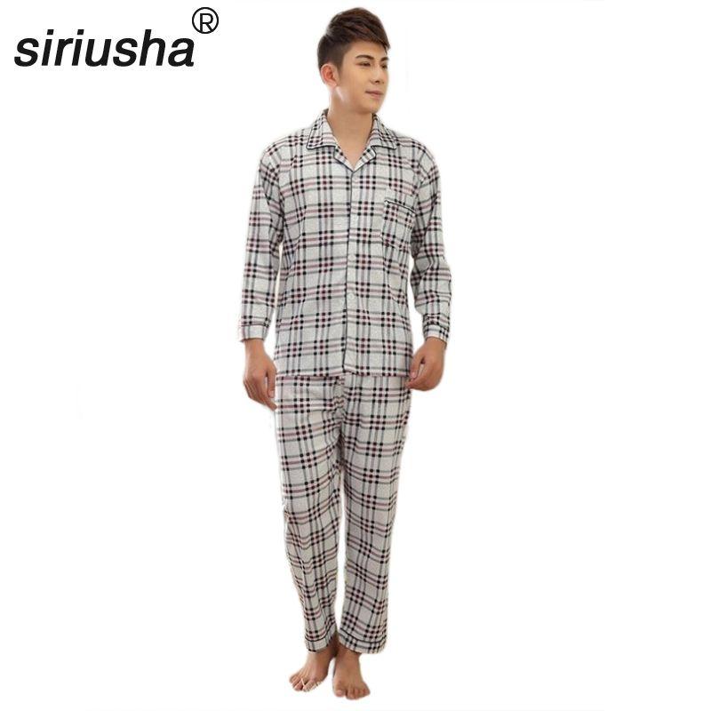 Все сезоны хлопковые пижамы Для мужчин пижамы плюс Удобрения комплект с длинным рукавом Для мужчин домашние плиссированные Пижама хлопок п...
