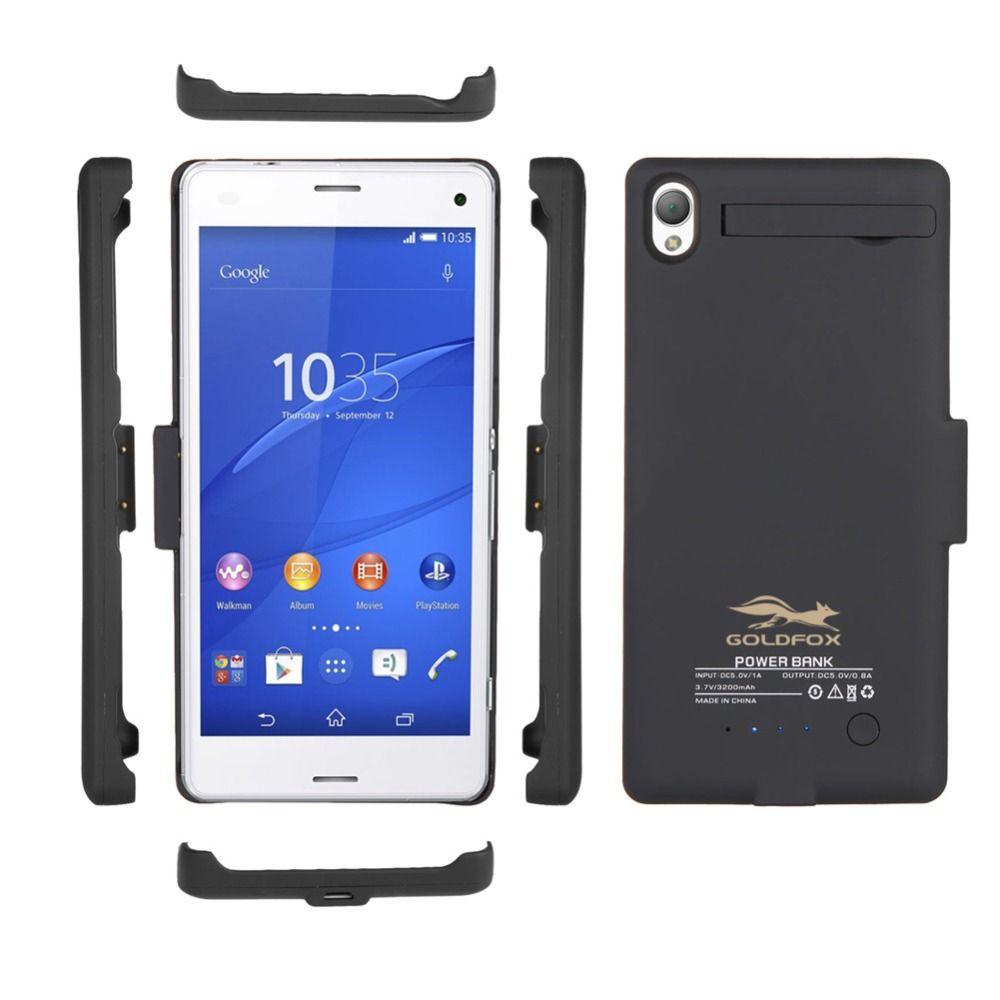 Pour Sony Xperia Batteria Z3 Noir/Blanc 3200 mAh Externe De Sauvegarde Chargeur de Batterie avec Support Couverture Affaire de La Banque D'alimentation téléphone Batteries