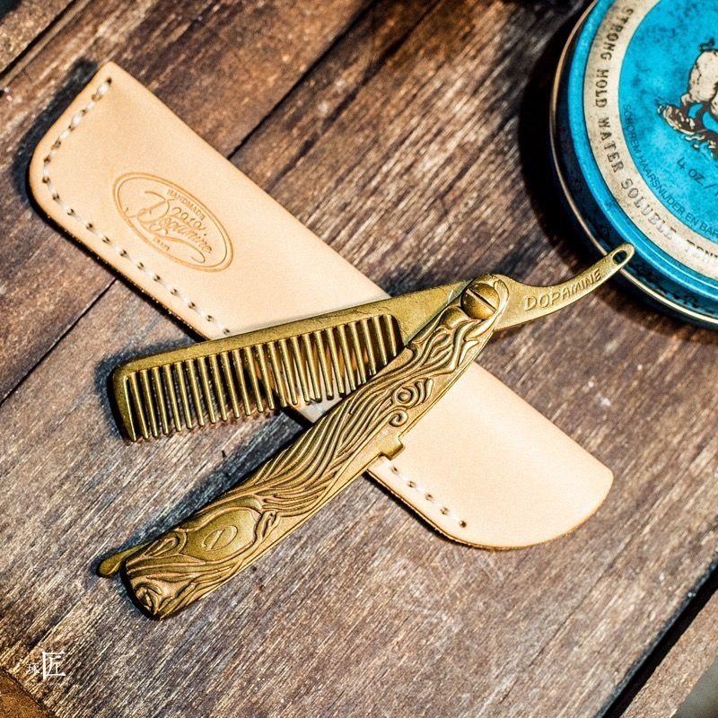 Reiner Messing herren Vintage Kamm Amerikanischen Ratro Ölpest Styling Haarbürste Tragbare Haarschneider Friseur Wunderschöne Werkzeug UN972