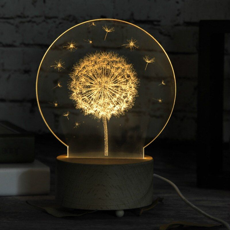 Dandelion/Unicorn 3D LED nightlight Wood base with music box Dimming/Remoting switch little girl gift bedroom deco lamp IY804015