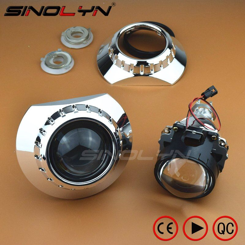 Mini HID Bi-xenon Headlight Projector Lens With E46-R Extended Shrouds For BMW M3 E90/E91/E92/E93 ZKW E46 compact, Use H1 Xenon
