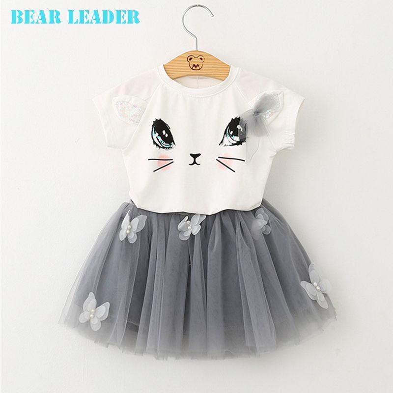 Bear Leader Girl Dress 2018 New Summer Casual Style Cartoon Kitten Printed T-Shirts+Net Veil Dress 2Pcs for Girls Clothes 2-6Y